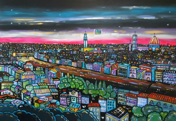 Florence in a parallel world, original acrylic painting, 130 x 90 cm